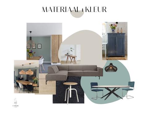 Palet, interieurontwerp, interieuradvies, interieurstyling, Groningen, collage, blauw, naturel, hout interieur, keukenidee