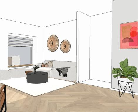 DITISDIL, interieurontwerp, interieuradvies, Groningen, basic, industrieel, licht, fris, vrolijk, cognac, nieuwbouw, nieuwbouwhuis, woonkamerstyling, 3D ontwerp, interieurdesign, binnenhuisinspiratie, woonkamerstyling, keukenstyling, fauteuil, tv-kast