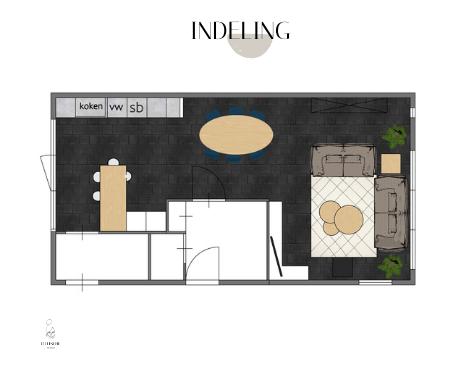 Palet, interieurontwerp, interieuradvies, interieurstyling, Groningen, collage, blauw, naturel, hout interieur, keukenidee, indeling