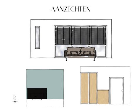 Palet, interieurontwerp, interieuradvies, interieurstyling, Groningen, collage, blauw, naturel, hout interieur, aanizchten, groen, blauw, stoer, licht, aanzicht