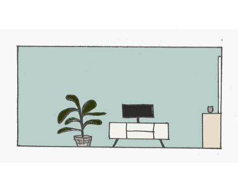 Doorsnede woonkamer TV