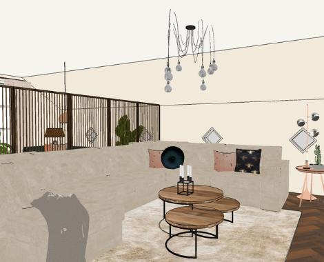3D woonkamer, roomdivider, walnoothout, hoekbank, interieurstyling, zacht, interieuradvies