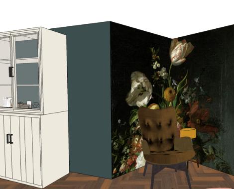 3D woonkamer, DITISDIL, bloemstilleven, Oude meesters, interieurstyling