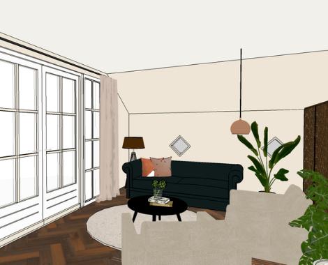 3D woonkamer, DITISDIL, chesterfield, modern klassiek, licht, donker, interieurstyling, interieuradvies