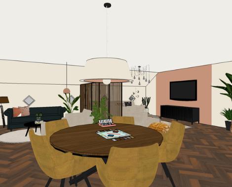 3D woonkamer, eethoek, spelletjes tafel, kleurrijk, velvet, modern klassiek, interieurstyling, interieuradvies