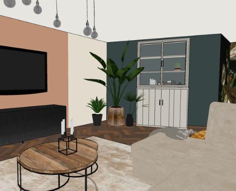 3D woonkamer, roomdivider, walnoothout, hoekbank, interieurstyling, zacht, interieuradvies3D woonkamer, roomdivider, walnoothout, hoekbank, interieurstyling, zacht, interieuradvies