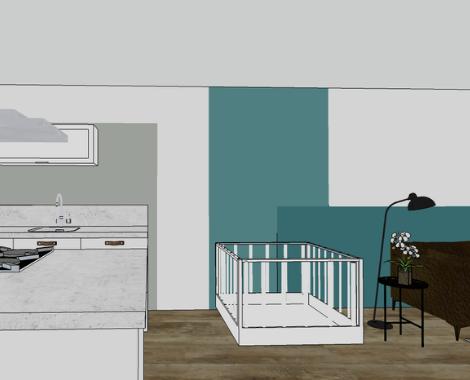 interieurontwerp Groningen, interieurdesign, moodboard, kleuradvies, blauw, petrol, kleurvlakken, interieuradvies, interieurstyling, ditisdil, 3D kleurvlak
