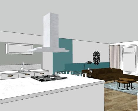 interieurontwerp Groningen, interieurdesign, moodboard, kleuradvies, blauw, petrol, kleurvlakken, interieuradvies, interieurstyling, ditisdil, 3D aanzicht