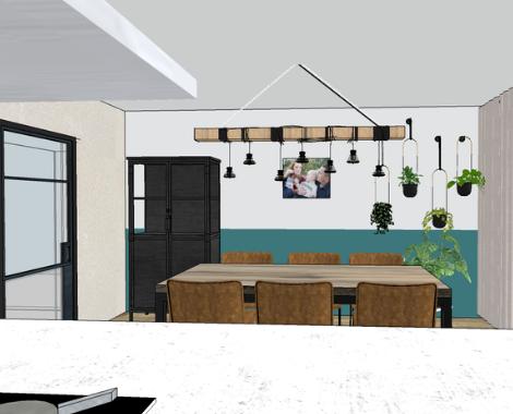 3D aanzicht eethoek, interieurontwerp Groningen, interieurdesign, moodboard, kleuradvies, blauw, petrol, kleurvlakken, interieuradvies, interieurstyling, ditisdil