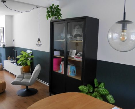 halve muur, lambrisering, kleur, strak, interieur, interieurontwerp, binnenkijken, kracht, power, geheim, Groningen, statement