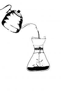 koffie, interieur, tekening, contact