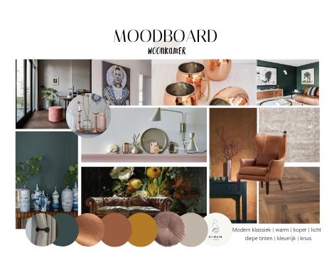 Moodboard, modern klassiek, boerderij, warm, diepe tinten, koper, woonkamer, chesterfield, oude meesters, behang, DITISDIL