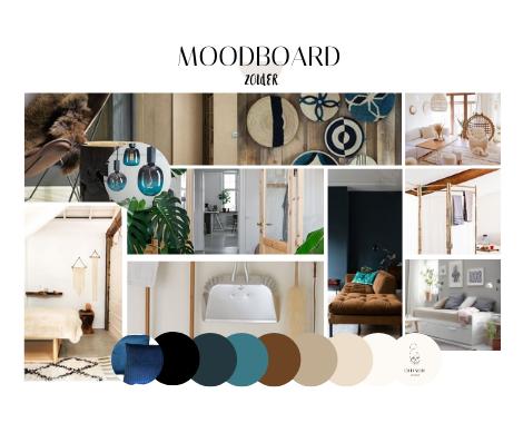 Moodboard zolder, stijl en sfeer, warm, rust, licht hout, blauw, DITISDIL